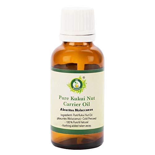 R V Essential Aceite portador de nuez de Kukui puro 10ml (0.338oz)- Aleurites Moluccanus (100% puro y natural Prensado en frío) Pure Kukui Nut Carrier Oil