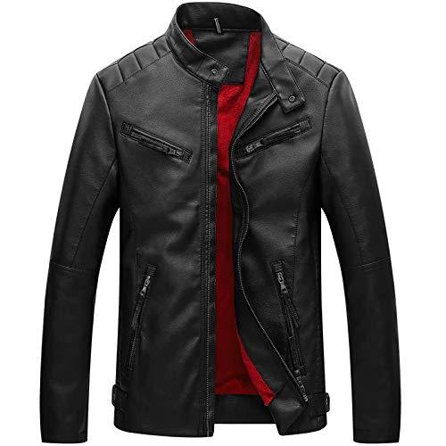 X&Armanis Giacca da Uomo in Pelle con Zip, Giacche in Morbida Pelle Calda Abbigliamento Moto alla Moda,2,4XL