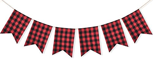 Uniwish Buffalo Plaid Banner Lumberjack Theme Baby Shower Birthday Party Decorations Garland Hanging Sign for Indoor Outdoor Events