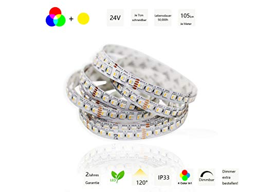 Ogeled 1-10m 4chips 4in1 5050 RGBWW LED Stripe Streifen superhell 112LEDs/m 24V (RGB+WW, 3m)