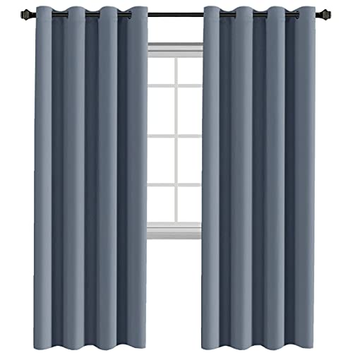 H.Versailtex Premium Blackout Thermal Insulated Room Darkening Curtains for Bedroom/Living Room - Grommet Top (Stone Blue,52 by 84 - Inch,Set of 2 Panels)
