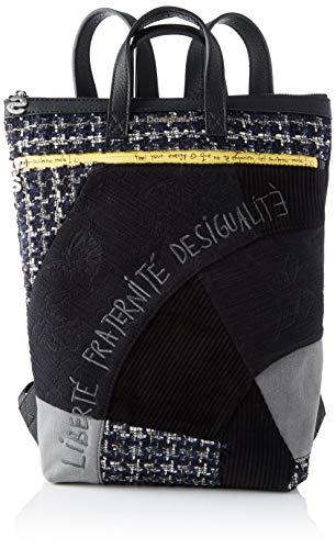 Desigual Damen Backpack Liberté Patch Baza modischer Rucksack, Schwarz (Negro), 37x9x24 cm (B x H x T)