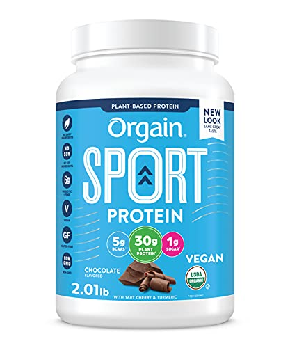 Orgain Chocolate Sport Plant-Based Protein Powder, Made with Organic Turmeric, Ginger, Beets, Chia Seeds, Cherry, Brown Rice and Fiber, Vegan, Non GMO - 2.01 lbs (Packaging May Vary)