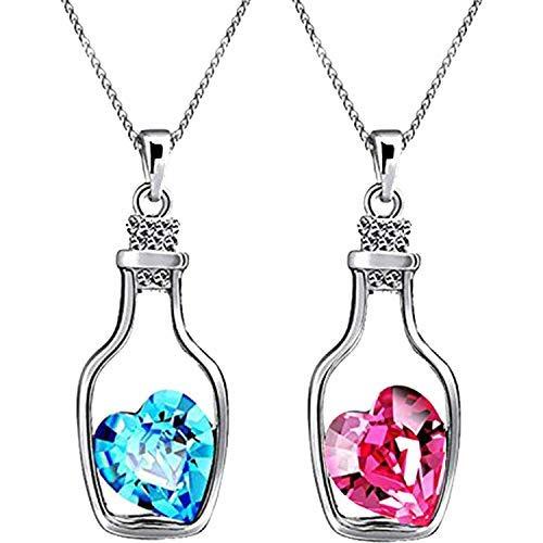 Sataanreaper Presents Elegante Plateado Rodio Combinación De 2 Botella De Color Rosa Corazón Azul Y Solitaire Colgante para Las Mujeres Y Las Niñas #Sr-1884