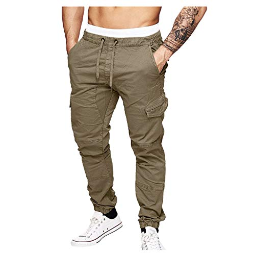 ITISME Herren Lange Trainingshose Jogging, 2019 Herbst Winter Neu Chino Cargo Trousers Männer Jogginghose Hose Beiläufig Elastisch Jogging Sport Solide Ausgebeult Taschen Hose Training Freizeithose