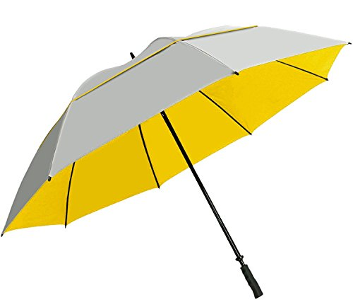 """Suntek 68"""" Reflective UV Protection Windcheater Umbrella with Vented Double Canopy (Silver/Yellow)"""