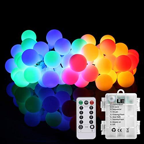 LE 50er LED Kugel Lichterkette 5M Dimmbar, Batteriebetrieben mit Fernbedienung, 8 Lichtmodi, Zeitschaltuhr und Merkfunktion, Mehrfarbig, ideal für Weihnachtsdeko, Hochzeit, Party usw.