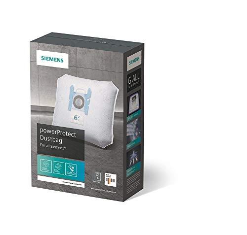 Siemens PowerProtect Staubsaugerbeutel VZ41FGALL (4 Stück), mit Verschluss, effizienter Motorschutz, 50% längere Nutzungsdauer, alle Baureihen außer VS08, VS01