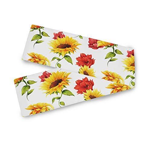 TropicalLife F17 - Camino de mesa rectangular con diseño de girasol, flores de abeja de 33 x 177 cm, poliéster, decoración para bodas, cocina, fiestas, banquetes, comedores, mesas de centro