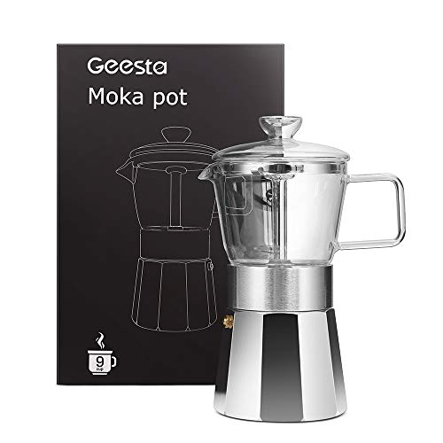 GEESTA Premium Crystal Glass-Top Stovetop Espresso Moka Pot - 9 cup - Coffee Maker