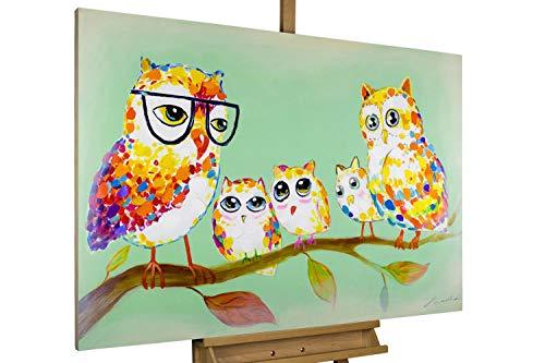 KunstLoft Dipinto Acrilico 'Incontro di Gufi' 90x60cm | Tele Originali manufatte XXL | Gufi Colorati con Occhiali Verde Multicolore | Quadro da Parete Dipinto in Acrilico Arte Moderna in Un Pezzo