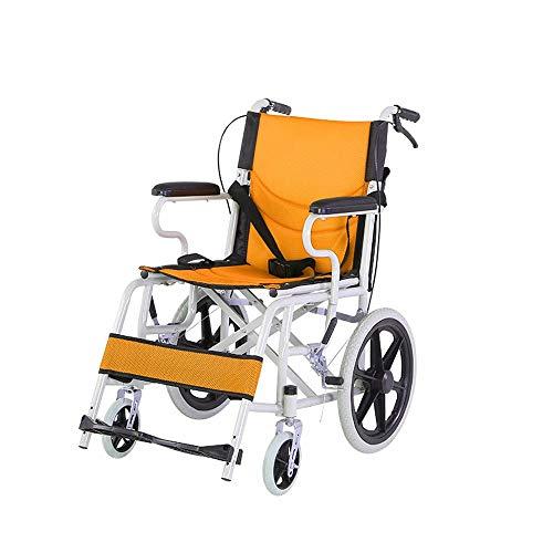 Leicht Aluminium Rollstuhl, Zusammenklappbar Leichtgewichtrollstuhl, mit Handgriffen zum Bremsen, Kippschutz Größe 45 Cm, Ultraleichter Rollstuhl Nur 11 Kg