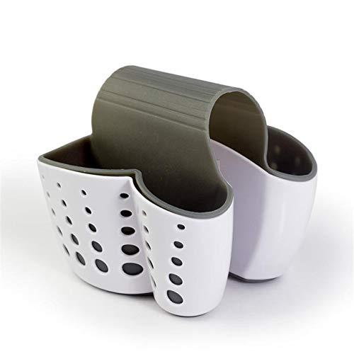 Heng zinken plank zeep spons afvoer rek keuken organisator houder opknoping afdruiprek dubbelzijdige draagbare keuken accessoires, wit