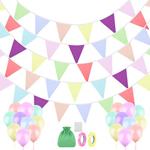 ADXCO 48 Pieces Fabric Bunting Banner 45.9 Feet Macarons Fabric Flag Banner Garlands Colorful Cotton Hanging Pennant Flags with 20 Balloons for Garden Wedding Birthday Parties