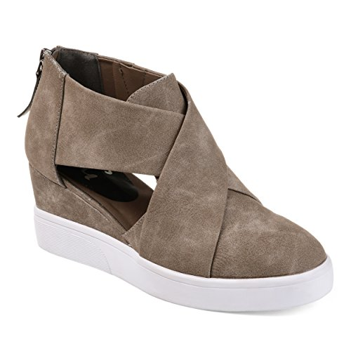 Journee Collection Womens Athleisure Criss-Cross D'Orsay Sneaker Wedges Taupe, 8 Regular US