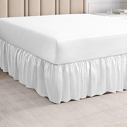 Ruffled White Full Bed Skirt – Hotel-Quality Ruffles for Full Beds with 14 in. Drop – Under-The-Mattress Full Bedskirt for Easy Fitting with Brushed Fabric by CGK Unlimited