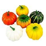 PRETYZOOOM, 6 zucche artificiali in plastica per Halloween, colore casuale