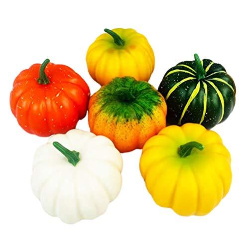 PRETYZOOM 6 Stück Künstliche Kürbisse Mischung aus Plastikkürbissen für Halloween Thanksgiving (Zufällige Farbe)