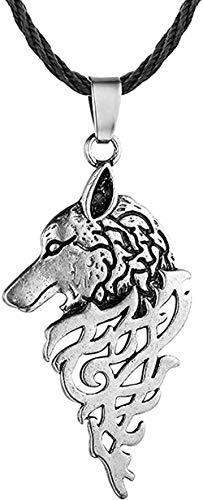 BACKZY MXJP Collar Punk Wolf Hombres Collar para Mujeres Hip Hop Bar Animal Colgante Collares Joyería Étnica Hecha A Mano Chico Cool Gargantilla