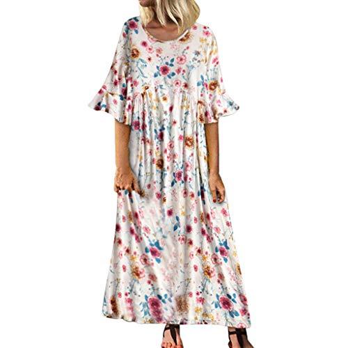 Vrouwen Casual Losse Trompet Mouw Jurken - Dames Vintage Bloemen Print Zomer Strand Vintage Boho Jurken