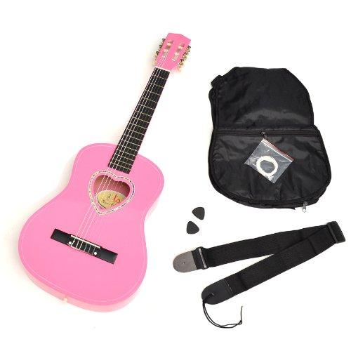 Kindergitarre 1/2 Akustik Klassik Gitarre in Rosa mit Herz-Schallloch und mit Zubehör, Tasche, Plektren, Saiten und Gurt