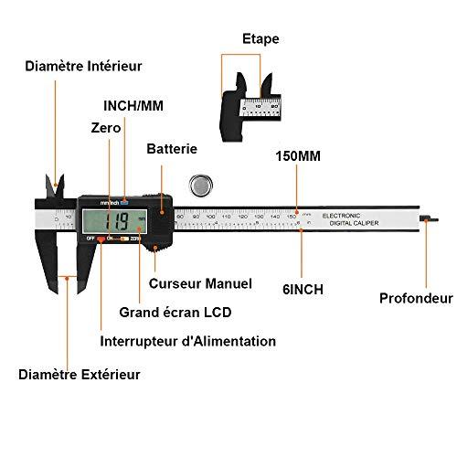 Yakamoz 0-150mm LCD Pied à Coulisse Numérique Étrier Plastique Vernier Calibre à Coulisse Avec Écran Grand Mesurer Diamètre Intérieur, Diamètre Extérieur, Profondeur et Etape Précision: ± 0.1 mm