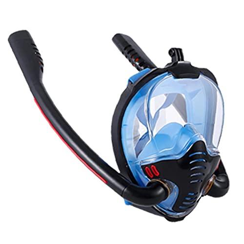 Tubo de snorkel careta de protección de la cara llena Doble buceo silicón de la cara cubierta que aisla vaho y anti-fugas Negro azul L XL Tamaño de snorkel y buceo