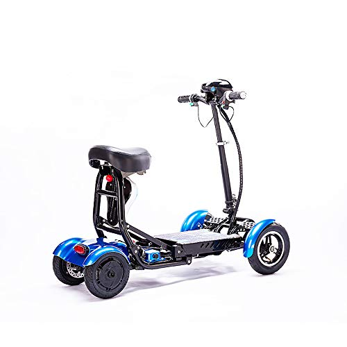 Silla de ruedas eléctrica plegable, liviana y resistente con batería de litio, scooter móvil multi-terreno, adecuado para adultos con asientos para niños, bicicletas para discapacitados de cuatro