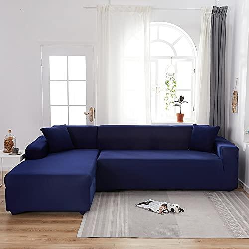 WXQY Funda de sofá elástica de Color sólido para Sala de Estar Funda Deslizante elástica Funda de sofá Funda de sillón en Forma de L Funda de sofá A21 3 plazas