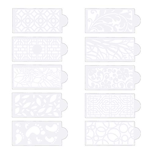 Ziyero 10 STK 3D Spitze Effekt Fondant Muster Prägematte Strukturmatte für Tortendeko Hochzeitstorte Mesh Schablonen Kuchen Vorlagen Weich, für Mousse, Kuchen, Schokolade, Dessert usw—Durchscheinend