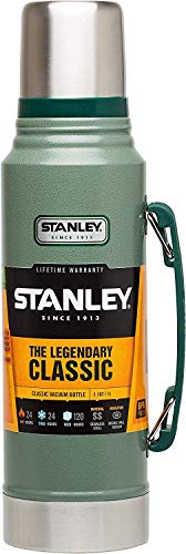 Stanley 10-01254-038 Legendary Classic 1.0L Hammertone Green 18/8 Stainless Steel Double-Wall Vacuum Insulation Water Bottle Leakproof + Packable Naturally Bpa-Free