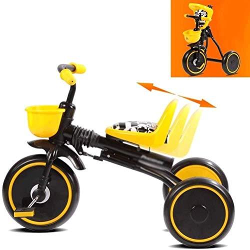 MYERZI Absorción de Impacto Bicicletas for niños Triciclo for niños Cochecito de niño Bicicleta Cochecito de bebé 1-3 años Bicicleta Plegable for bebé (Color: Amarillo, Tamaño: 70x45x50cm)