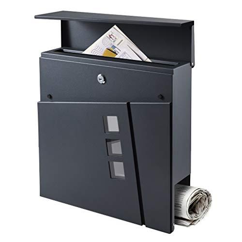 BONADE Briefkasten Anthrazit Edelstahl mit Zeitungsfach, Zeitungsbox A4 Einwurf-Format Schützende Einwurfklappe, Briefkastenschloss mit 3 Sichtfenster Abschließbar Wandbriefkasten Inkl. 2 Schlüsseln