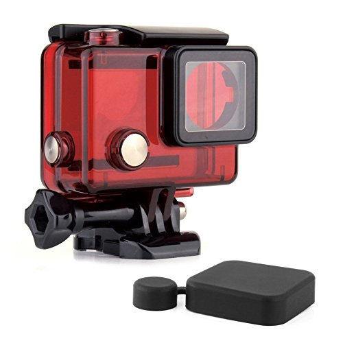 SOONSUN wasserdichtes Tauchgehäuse für GoPro Hero 4 / 3+ / 3,schwarz / silberfarben