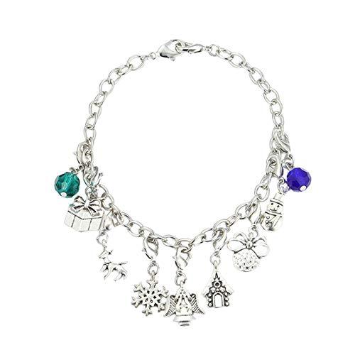 knowledgi Pulsera de Navidad, accesorios de pulsera para mujer, incluye un collar y una pulsera, colgantes, colgantes, juego de joyas.