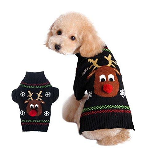 POPETPOP Vestiti di Maglieria Invernale per Cani e Gatti Cuccioli di Maglia di Renna di Natale - Taglia S (Nero)