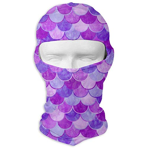 ALaze Purple Mermaid Scale Balaclava Full Motorcycle Helmet Liner Respirant Multifonctionnel Sports de Plein Air Coupe-Vent Anti-Poussière Head Hood