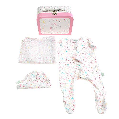 Katie Phytian Nieuwe Baby Gift Koffer met Rits Suit, Hoed en Muslin, Lilybelle Ontwerp