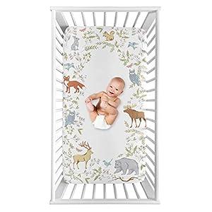 Sweet Jojo Designs Woodland Animal Toile Boy or Girl Fitted Crib Sheet Baby or Toddler Bed Nursery Photo Op – Grey, Green, and Brown Bear Deer Fox