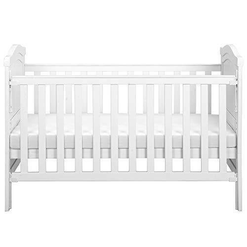 jeerbly Cama para bebé de madera maciza con colchón de espuma │ Se convierte en una cama junior │ Mecanismo de gota con una sola mano │ 3 posiciones ajustables
