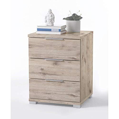 Universal Nachttisch in Sandeiche Optik - Moderner Nachtschrank mit drei Schubladen für Ihr Boxspringbett - 46 x 61 x 42 cm (B/H/T)