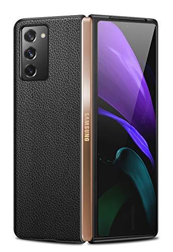 Capa para Galaxy Z Fold 2, capa fina de couro legítimo projetada para Samsung Galaxy Z Fold 2 (2020) (Preta)