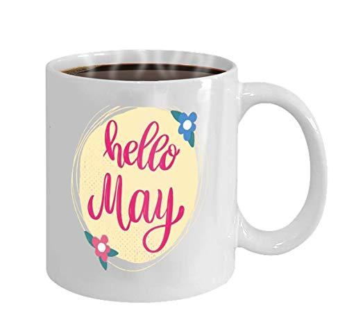 N\A Taza de café Personalizada de 11 onzas, Regalos de cerámica, Taza de té, Hola May, Frase de Letras en el Fondo con Elemento de diseño de decoración de Flores para Cartel, Pancarta, ca