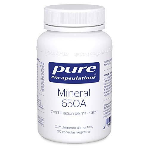 Pure Encapsulations - Mineral 650A 61g - Combinación de Minerales Biodisponibles para Máxima Absorción - Con Magnesio, Calcio, Hierro y Selenio - 90 Cápsulas Veganas