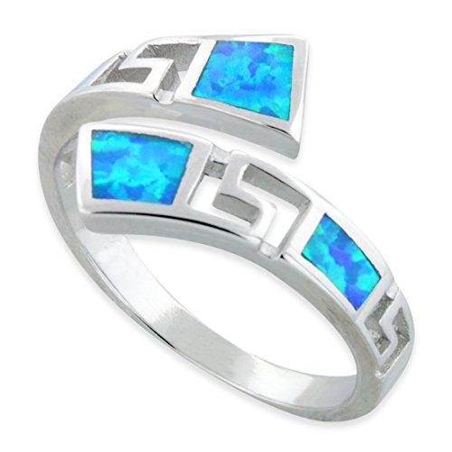 Sterling zilveren Wrap rond blauw Opaal Griekse Sleutelhanger (Maat 4-10)
