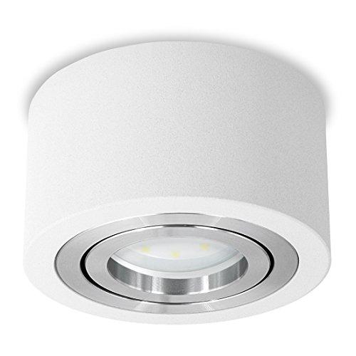 SSC-LUXon® flacher LED Spot Aufbau (rund, weiss, schwenkbar) - Deckenleuchte Ø 90 mm inklusive LED-Modul 5W warmweiß 230V