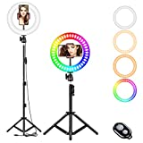 10' Selfie Ring Light, RGB LED Ring Light 3200-6500K with Tripod Stand & Cell Phone Holder for Live Stream/Make Up/YouTube/TikTok/Photography/Video Recording Compatible with iPhone & Android Phone