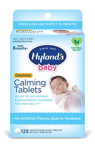 Hyland's Baby Calming Tablets, Natural Relief of Occasional Sleeplessness, Fussiness, And Irritability, 125 Count