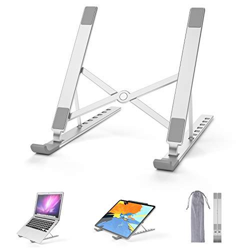 """SHYOSUCCE Soporte para Portátil 7 Ángulos Ajustables, Soporte Ordenador Portátil de Aluminio Plegable, Laptop Stand Portátil pour Tablet, MacBook, iPad y Portátiles de 11-15.6"""", Plata"""
