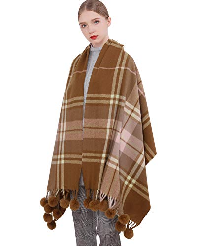 Cashmere Wool Scarf Pashmina Shawl Wrap for Women Long Large Winter Warm Thick Scarves With Fur Pompom Ball Brown